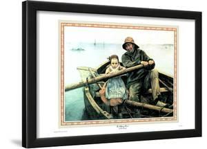 Helping Hand Little Girl Dad Art Print Poster Boat