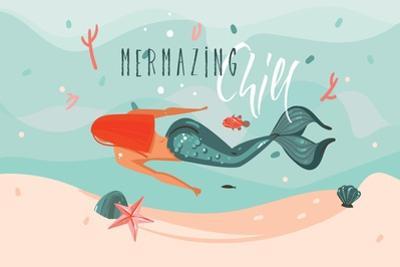 Mermazing Chill - Mermaid Illustration by Helter skelter