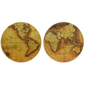 """Hemisphere A&B"" Circular Gold Canvas Giclee Printed on 2"" Wood Stretcher Wall Art"