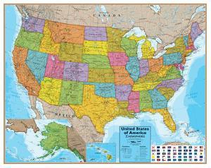 Hemispheres Blue Ocean USA Wall Map, Laminated Educational Poster