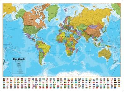 Hemispheres Blue Ocean World Wall Map, Laminated Educational Poster