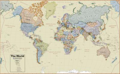 Hemispheres Boardroom Series World Wall Map, Educational Poster
