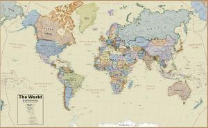 Hemispheres Boardroom Series World Wall Map, Educational Poster