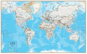 Hemispheres Contemporary Series World Wall Map, laminated edition