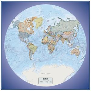 Hemispheres Global View Series World Political Wall Map, laminated edition