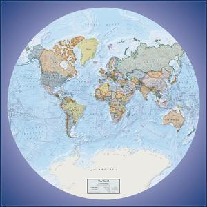 Hemispheres Global View Series World Political Wall Map, paper edition
