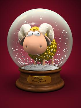 Symbol of 2015. Gold Sheep in Snow Ball 3D by hemul