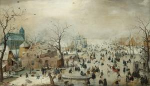 Winter Landscape with Ice Skaters, 1608 by Hendrick Avercamp