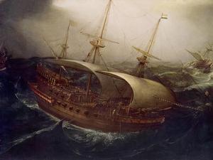 Dutch Battleship in a Storm by Hendrick Cornelisz. Vroom
