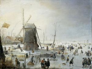 A Winter's Landscape with Skaters by Hendrik Avercamp