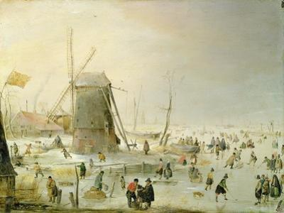 A Winter Scene with Skaters by a Windmill
