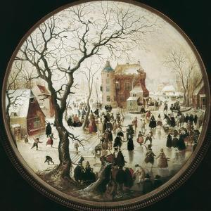 A Winter Scene with Skaters Near a Castle by Hendrik Avercamp