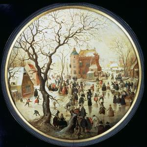 Winter Scene with Skaters Near a Castle, C.1608-09 (Oil on Panel) by Hendrik Avercamp
