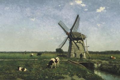 Landscape with Windmill Near Schiedam, 1873 by Hendrik Johannes Weissenbruch