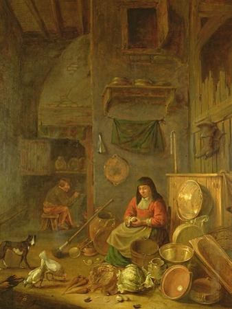 A Kitchen Interior with a Woman Peeling Potatoes Beside a Dog