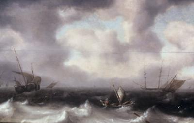 A Fishing Boat on Rough Seas with other Larger Sailing Vessels, 1633