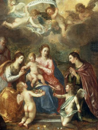 The Holy Family with St Catherine of Alexandria, two Angels and another Female Saint