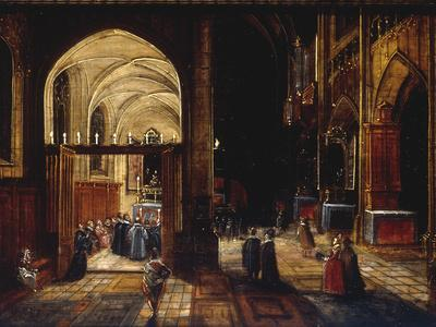 A Capriccio View of a Gothic Cathedral Interior with a Mass being Celebrated in a Side Chapel, 1630