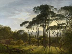 Italian Landscape with Umbrella Pines by Hendrik Voogd