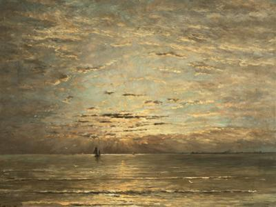 A Seascape at Sunset by Hendrik Willem Mesdag
