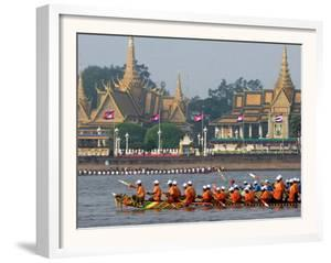 Cambodian Racers Row Their Wooden Boat by Heng Sinith