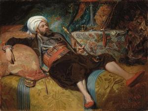A Reclining Turk Smoking a Hookah, 1844 by Henri Baron