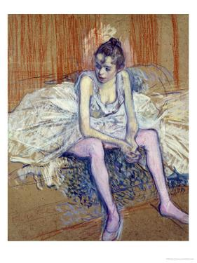 A Seated Dancer with Pink Stockings, 1890 by Henri de Toulouse-Lautrec