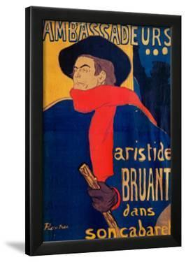 Aristide Bruant, Singer and Composer, at Les Ambassadeurs on the Champs Elysees, Paris, 1892 by Henri de Toulouse-Lautrec