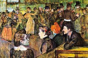 At The Moulin De La Gallette by Henri de Toulouse-Lautrec
