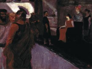 Enthroned Messalina (With Roman Centurion and Men in to gas) by Henri de Toulouse-Lautrec