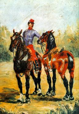 Henri de Toulouse-Lautrec Groom with Two Horses Art Print Poster