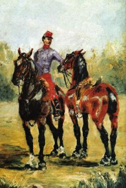 Groom with Two Horses by Henri de Toulouse-Lautrec
