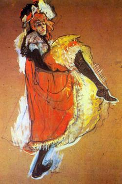 Henri de Toulouse-Lautrec Jane Avril Dancing Plastic Sign by Henri de Toulouse-Lautrec