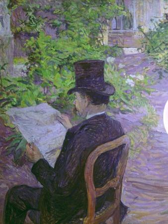 Musician Desire Dihau Reading a Newspaper in the Garden