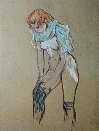 Naked Woman Putting a Stocking On by Henri de Toulouse-Lautrec