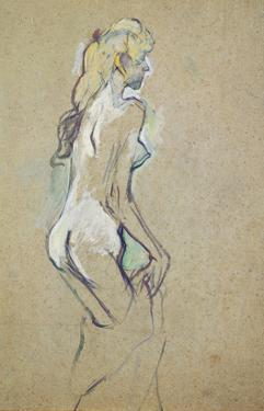Nude Girl, 1893 (Oil on Card) by Henri de Toulouse-Lautrec