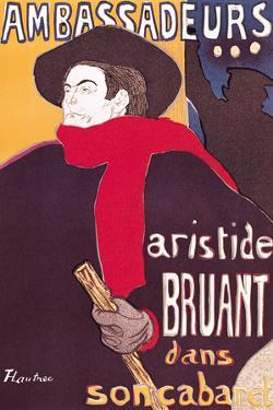 Poster Advertising Aristide Bruant in His Cabaret at the Ambassadeurs, 1892 by Henri de Toulouse-Lautrec