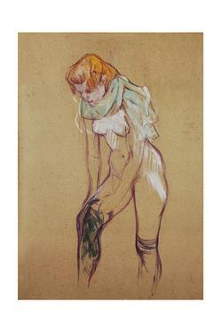 """Study for """" Woman putting on her stocking"""", 1894 Essence on board, 61,5 x 44,5 cm. by Henri de Toulouse-Lautrec"""