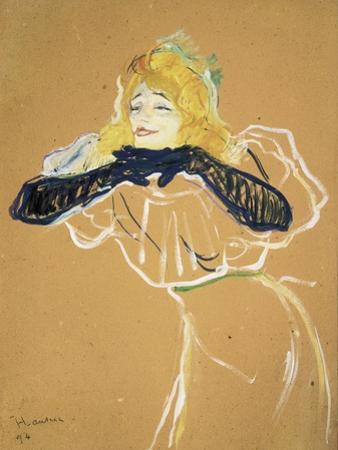 """Yvette Guilbert Singing """"Linger Longer Loo"""" by Henri de Toulouse-Lautrec"""