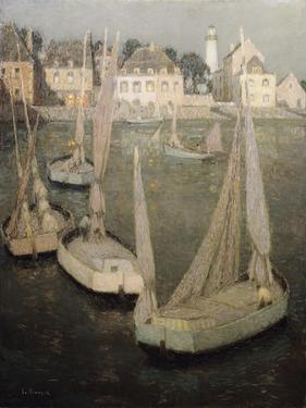Breton Port by Moonlight; Port Breton Au Clair De Lune by Henri Eugene Augustin Le Sidaner