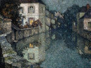 Houses on the Canal, Nemours; Maisons Sur Le Canal, Nemours by Henri Eugene Augustin Le Sidaner