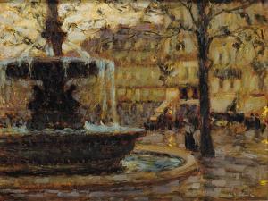 La Fontaine, Paris, 1904 (Oil on Panel) by Henri Eugene Augustin Le Sidaner