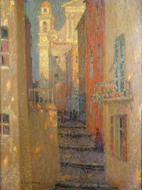 La Rue De L'Eglise by Henri Eugene Augustin Le Sidaner