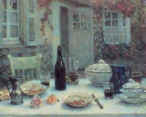 Lunch on the Terrace by Henri Eugene Augustin Le Sidaner