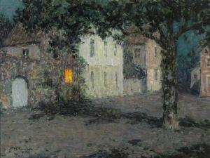 Moonlit City Square in Cherbourg, Ca 1934 by Henri Eugene Augustin Le Sidaner