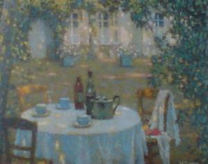 Tea on the Terrace by Henri Eugene Augustin Le Sidaner