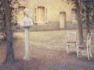 The Bust in the Garden at Twilight; Le Buste Dans Le Jardin Au Crespuscule by Henri Eugene Augustin Le Sidaner