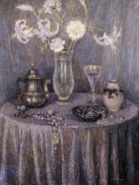 The Table, Gray Harmony; La Table, Harmonie Grise, 1927 by Henri Eugene Augustin Le Sidaner