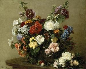 French Roses And Peonies by Henri Fantin-Latour