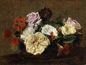 Roses and Nasturtiums in a Vase, 1883 by Henri Fantin-Latour